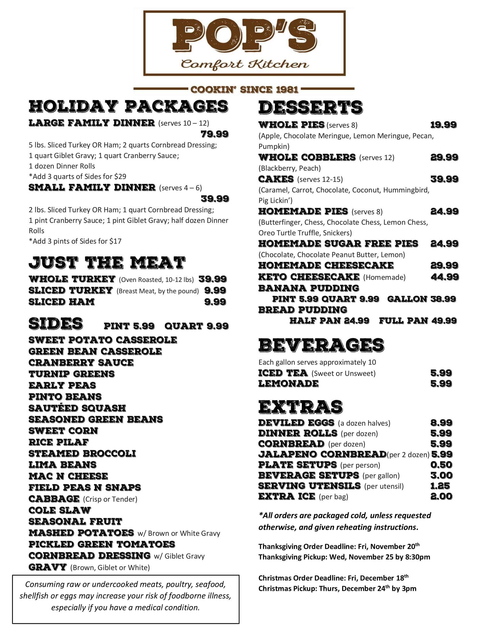 Holiday Menu - Please click for readable pdf