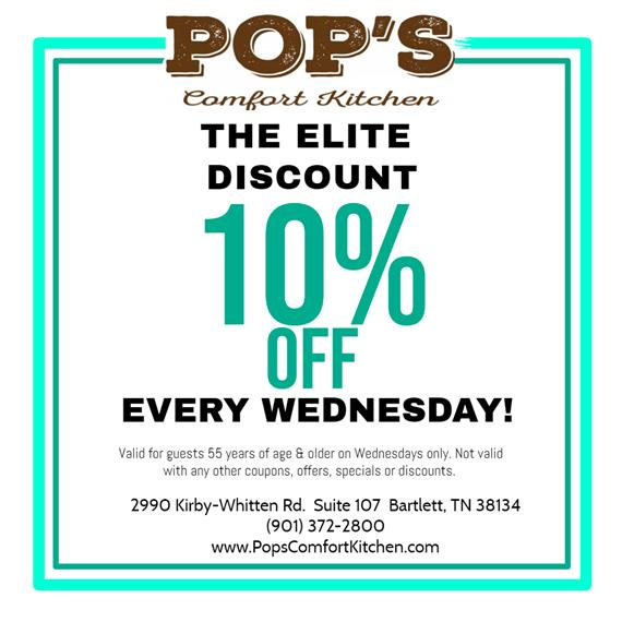 The Elite Discount: 10% Off Every Wednesday! Valid for guests 55 years of age & older on Wednesdays only. Not valid with any other coupons, offers, specials, or discounts.