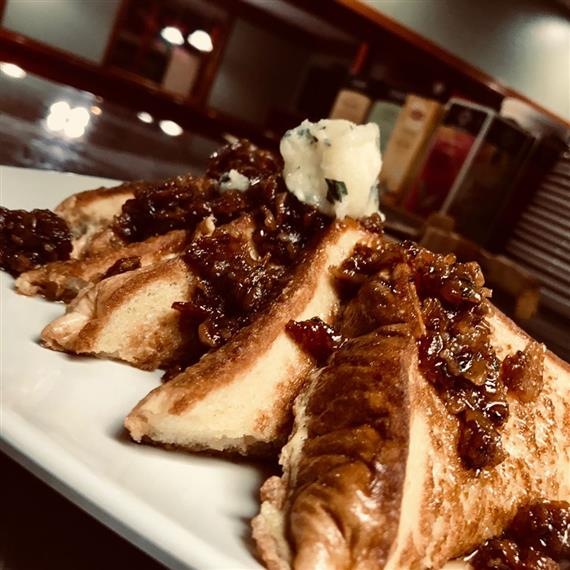 Jacks Fire French Toast: Jack Fire French Toast with apple compote, toasted pecans, herbed butter & applewood smoked ham or bacon