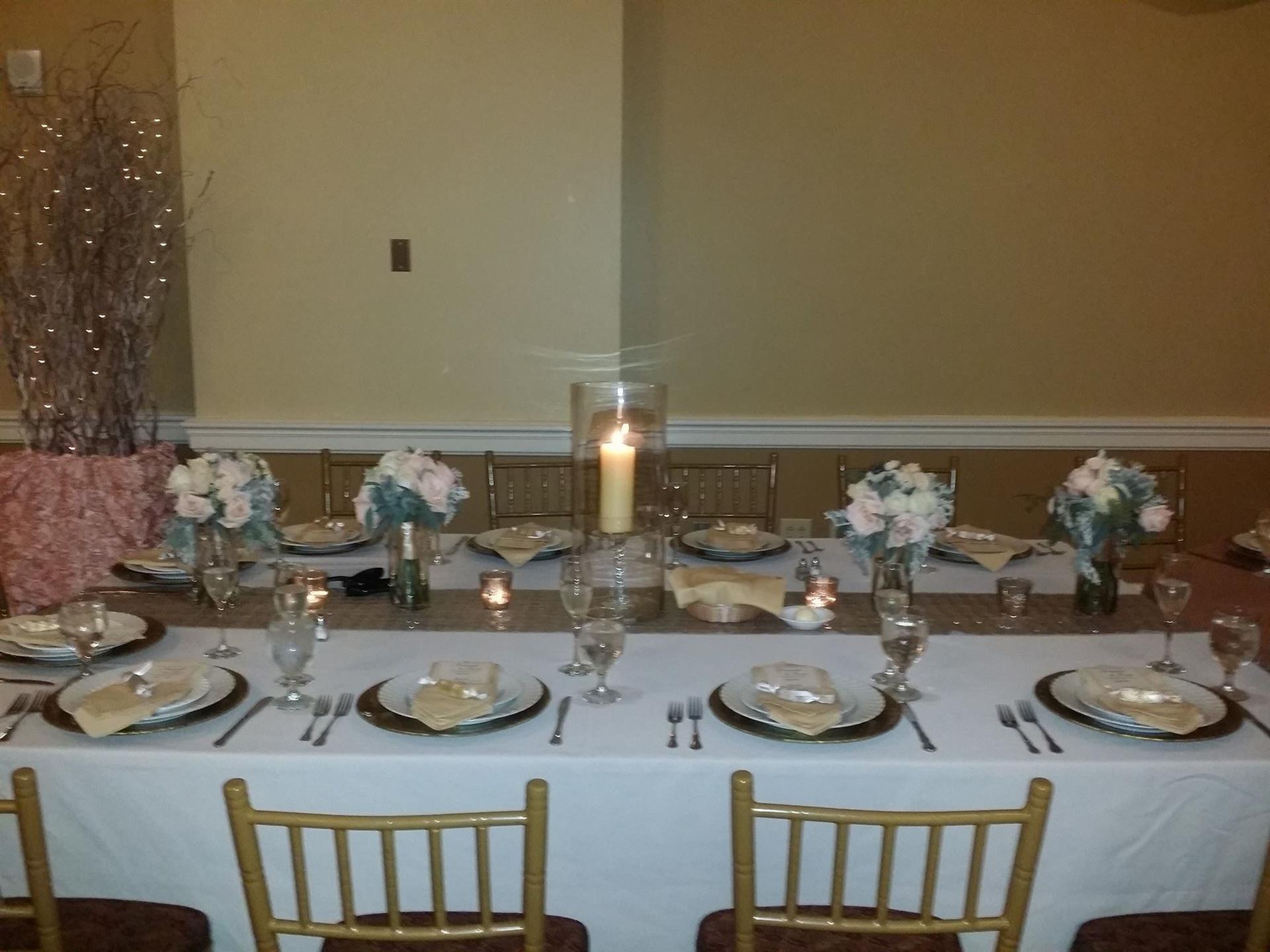 long tables set up with centerpieces
