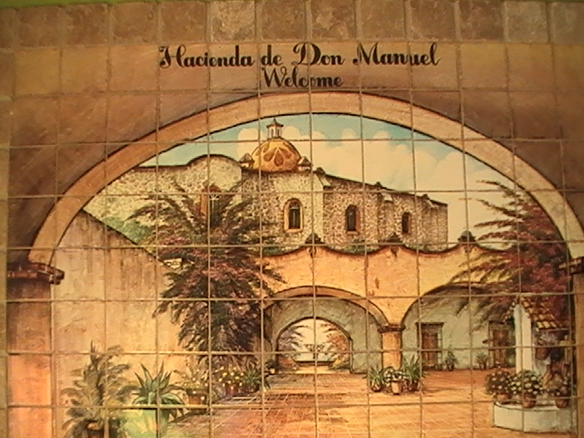 mural made of tiles with Hacienda de Don Manuel written on top