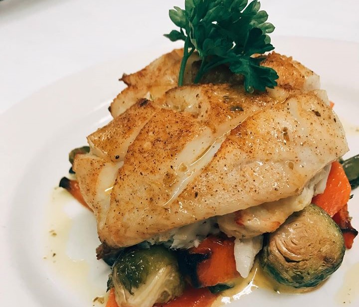 grilled tilapia over mixed vegetables