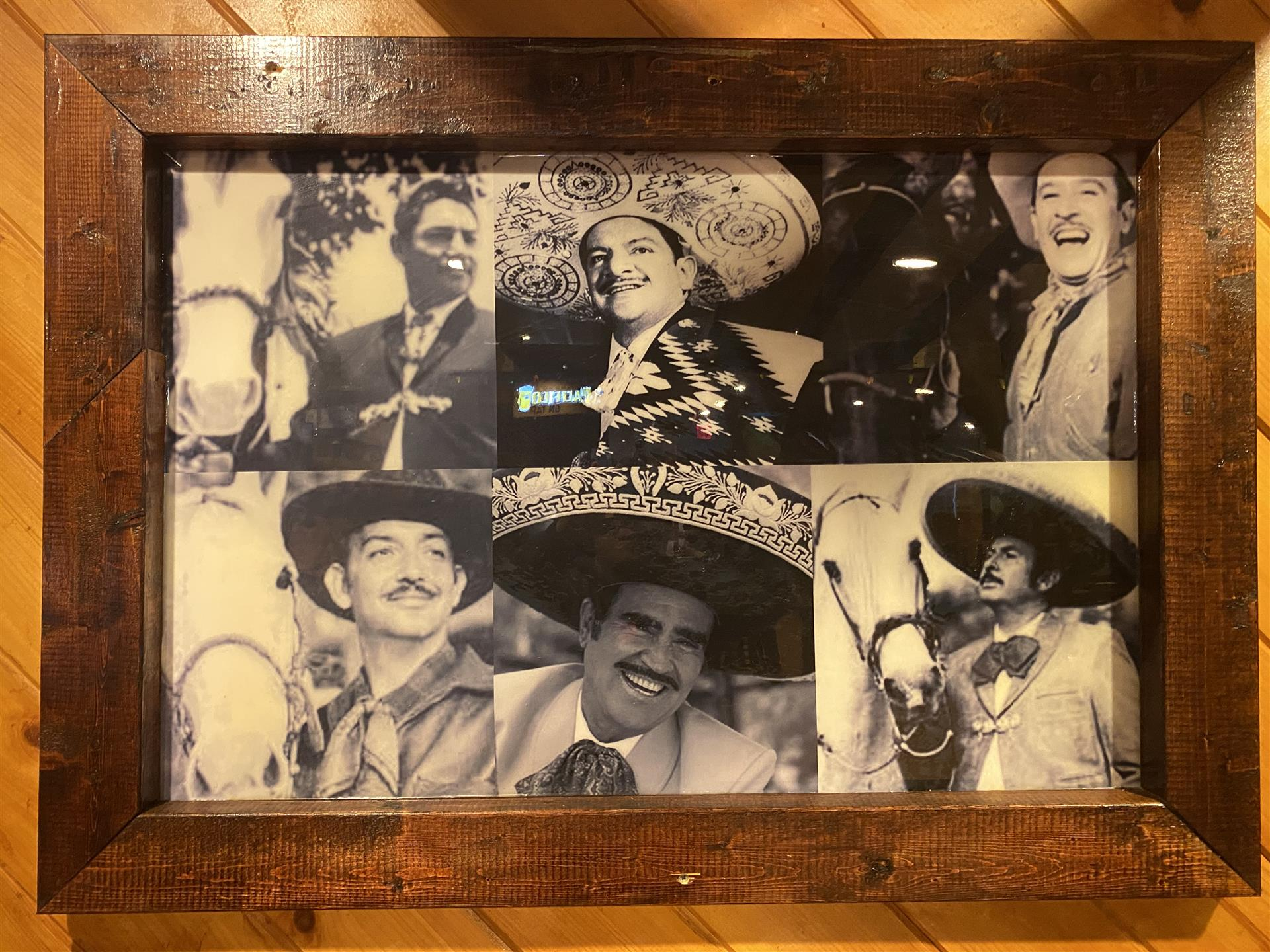 vintage photo collage of mariachi band members
