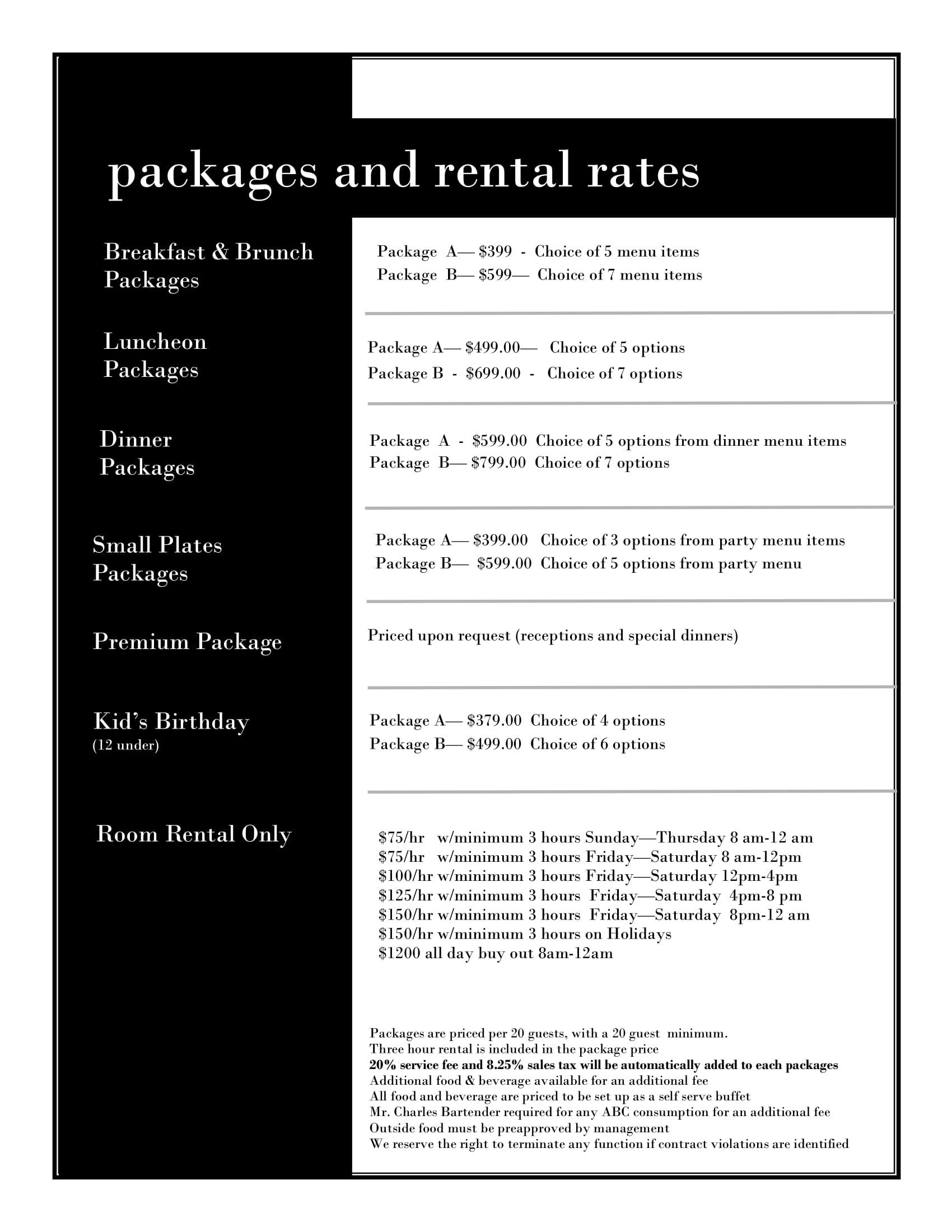 Package and Rental Rates - click for readable PDF
