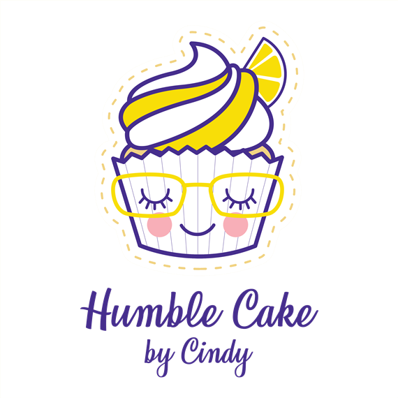 cupcake person wearing glasses, smiling with eyes closed - humble cake by cindy