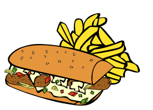 Cartoon poboy and fries