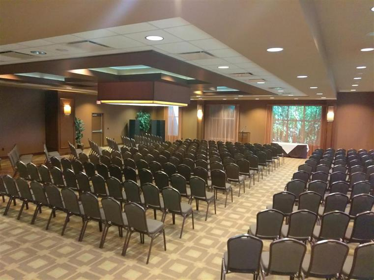event space set up for an audience-style corporate event