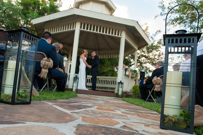 wedding ceremony at the gazebo of the Green Event Center