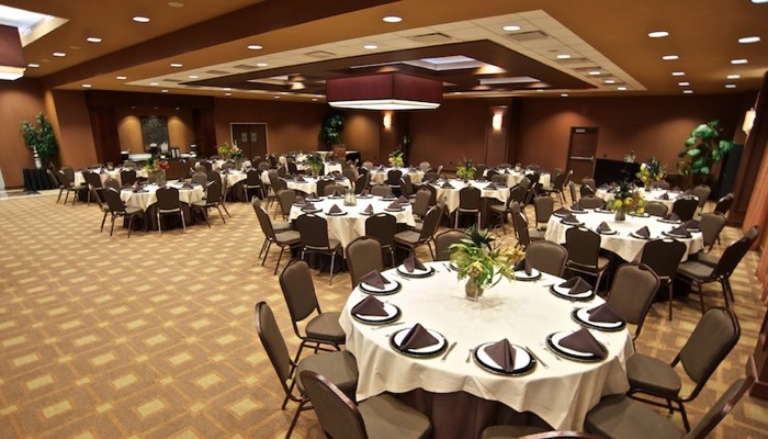event space with tables and chairs