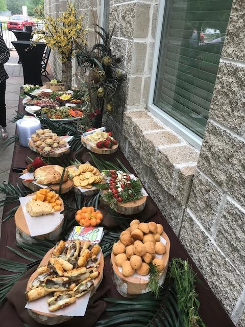 table with platters of appetizers