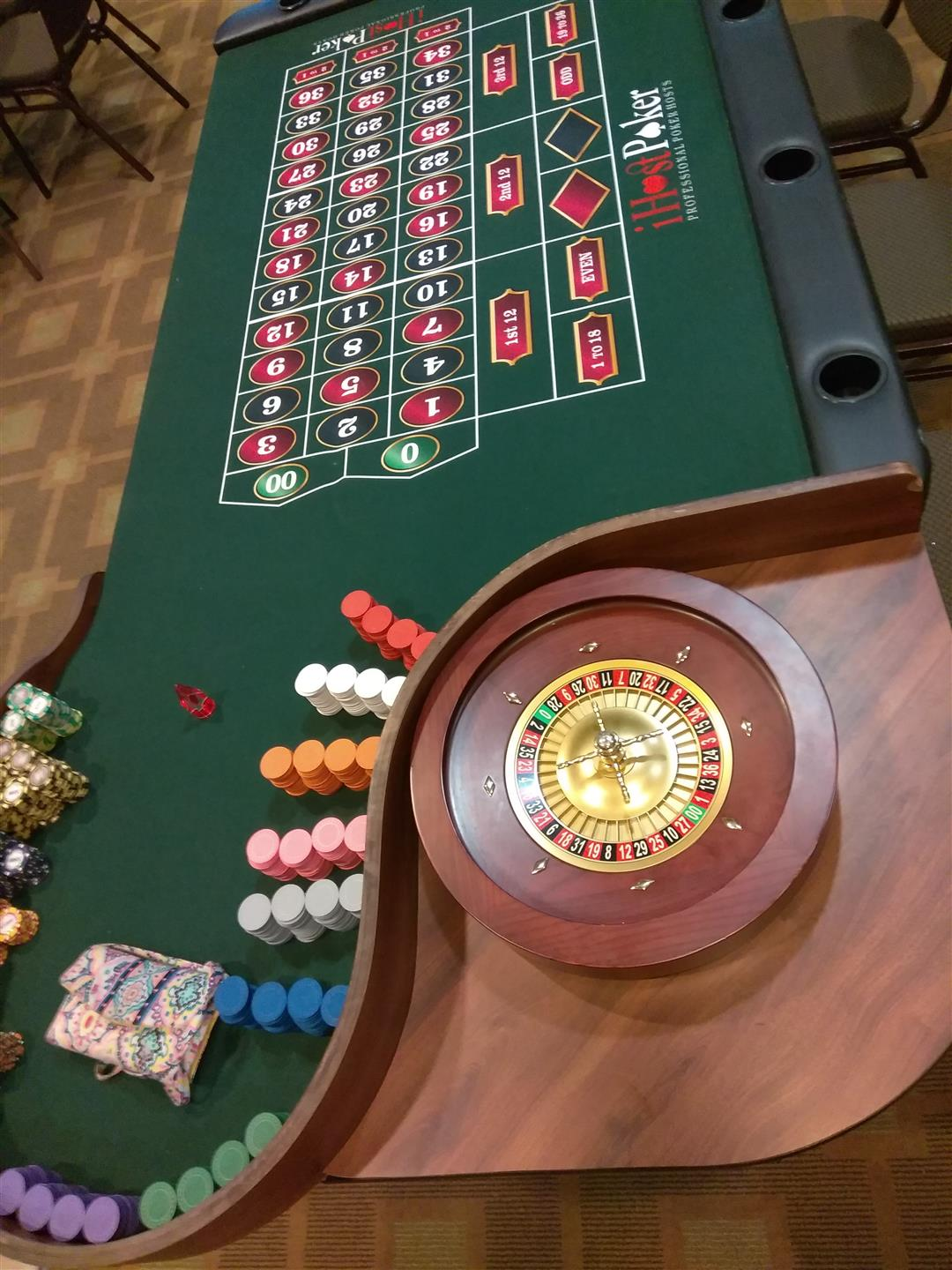 roulette table at casino themed party