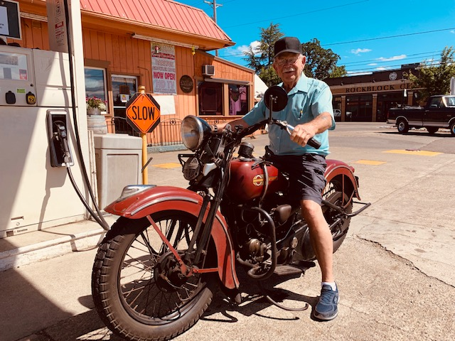Vince on a motorcycle