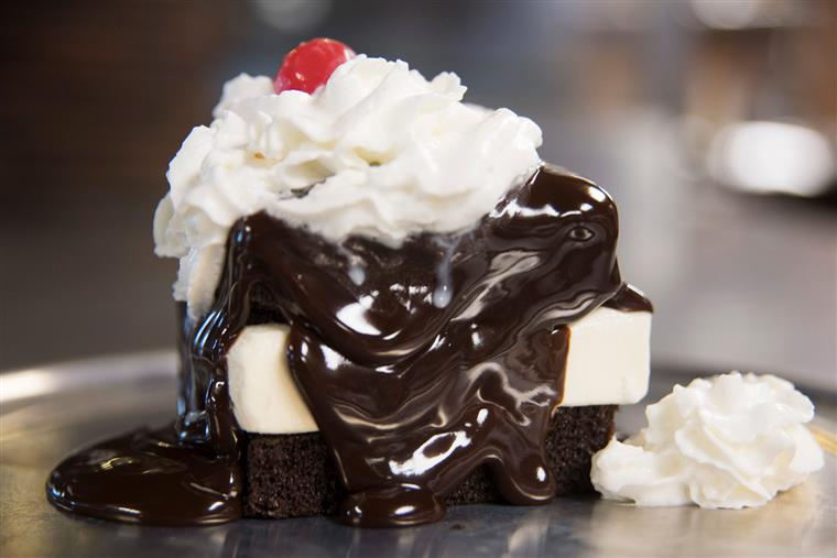 Hot Fudge Cake: Moist chocolate cake with vanilla ice cream, topped with hot fudge, whipped cream and a cherry