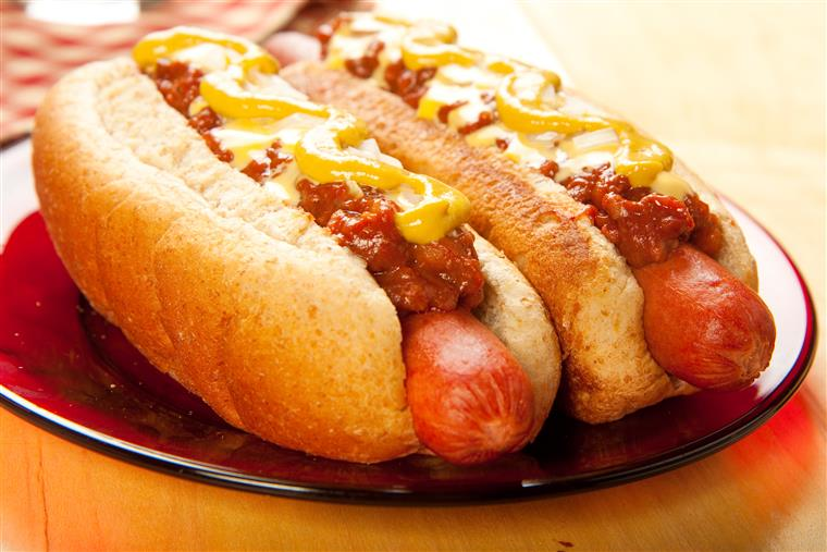 two chili dogs