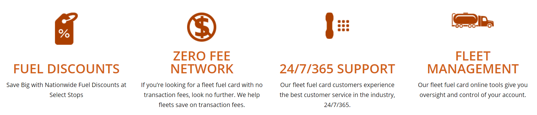 Fuel Discounts: Save Big with Nationwide Fueld Discounts at Select Shops. Zero Fee Network: If you're looking for a fleet fuel card with no transaction fees, look no further. We help fleets save on transaction fees. 24/7/365 Support: Our fleet fuel card customers experience the best customer service in the industry, 24/7/365. Fleet Management: Our fleet fuel card online tools give you oversight and control of your account.