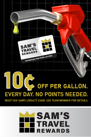 Sam's Travel Rewards - 10 cents off per gallon. Every day. No points needed. Must use Sam's loyalty card. See Team Member for details.