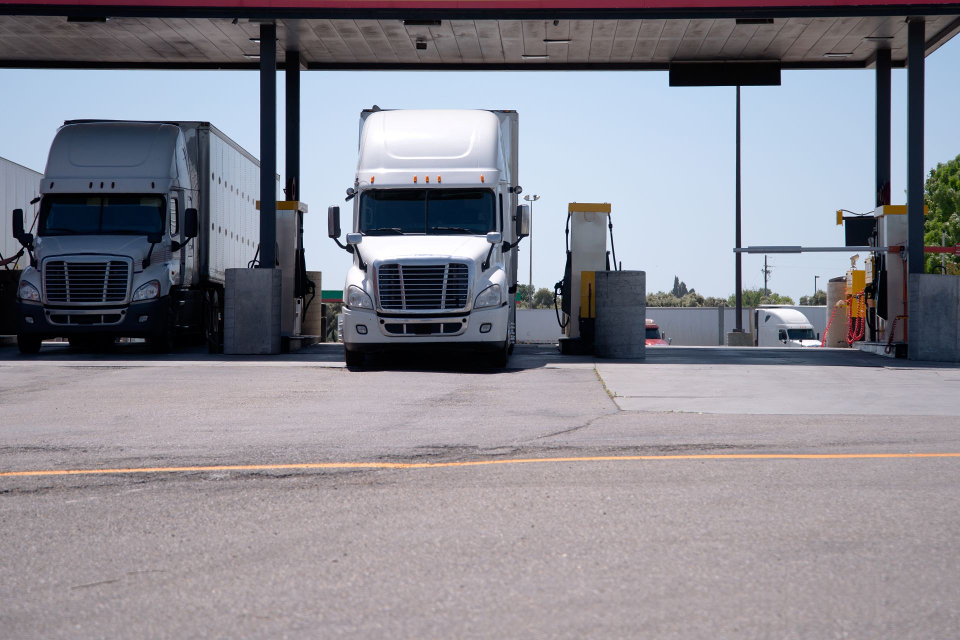 large truck at the fueling station