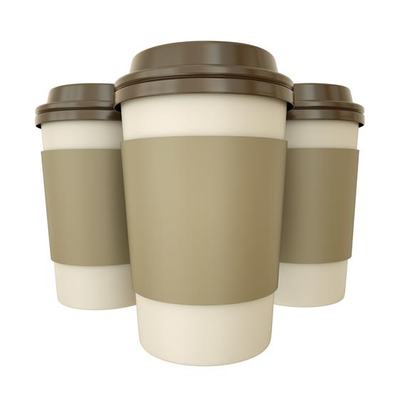 three paper coffee cups with lids