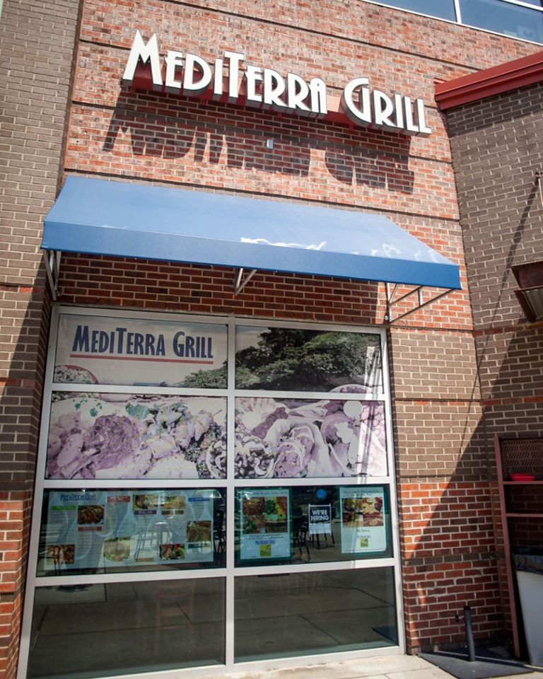 The front of the Mediterra Grill from the street