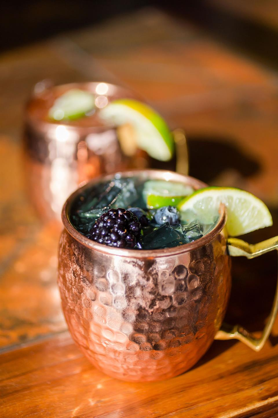 moscow mules in assorted flavors on the bar