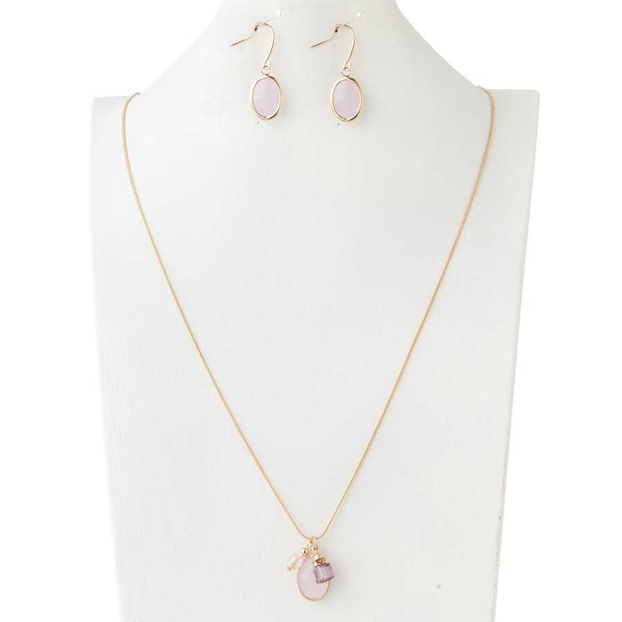 Triple Pink Faceted Crystal Pendant on a gold chain with matching earrings