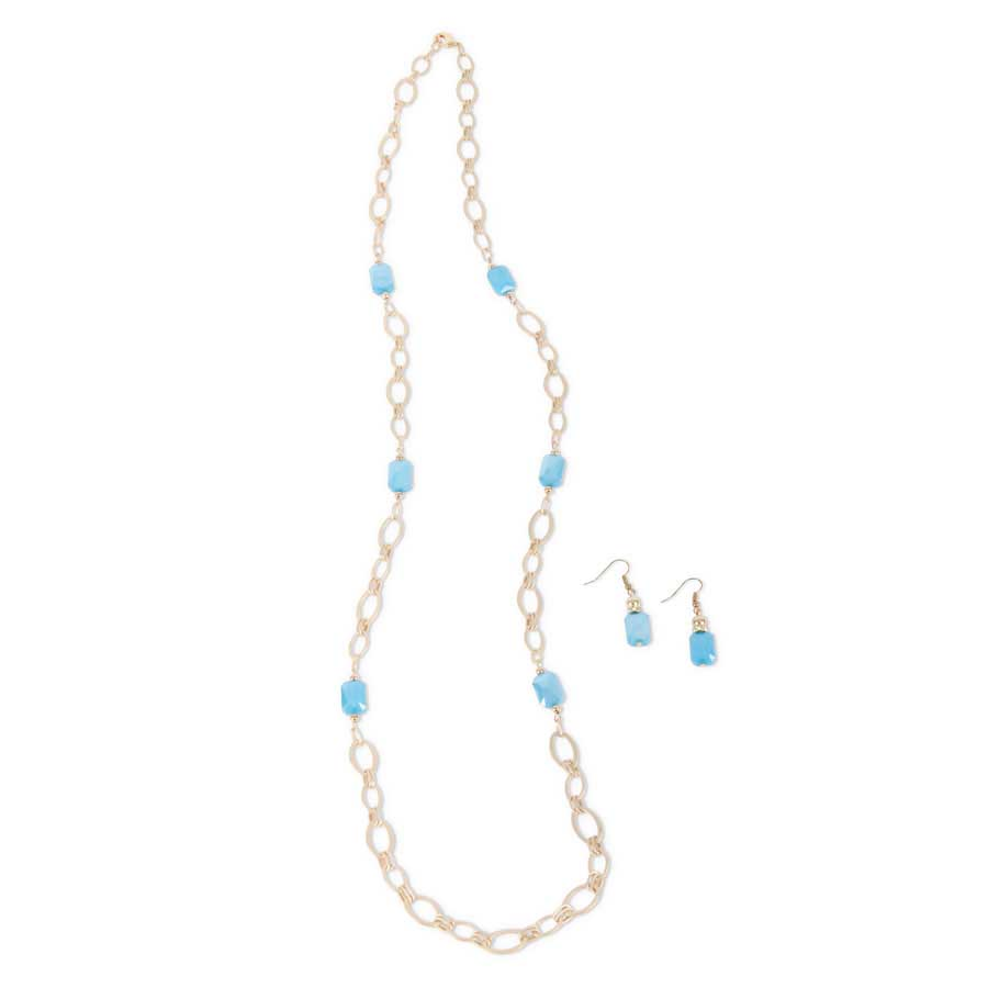 Matte Gold & Aqua Crystal Chain Necklace with matching Earrings
