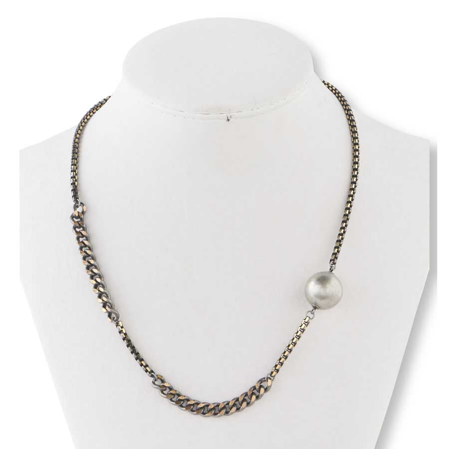 Burnished Matte Silver & Gold Reflective Multi style Chain Necklace with worn silver ball
