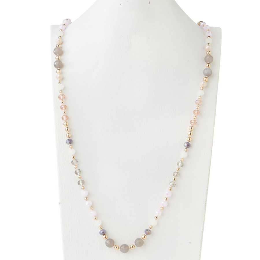 Multi Faceted Bead Pink, Grey & Gold Necklace