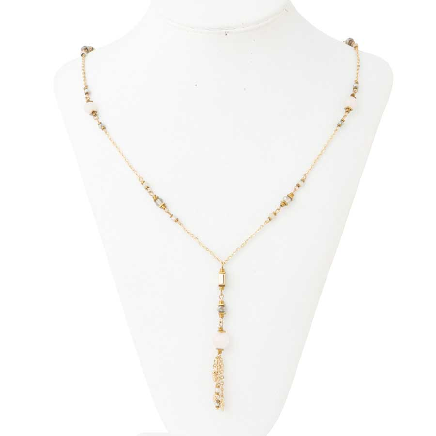 Gold, Pink & Grey Crystal Necklace with Tassel Drop