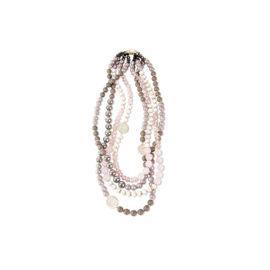 Hues of Pink, Plum & Taupe Crystal Beads adorn this Four Strand Necklace