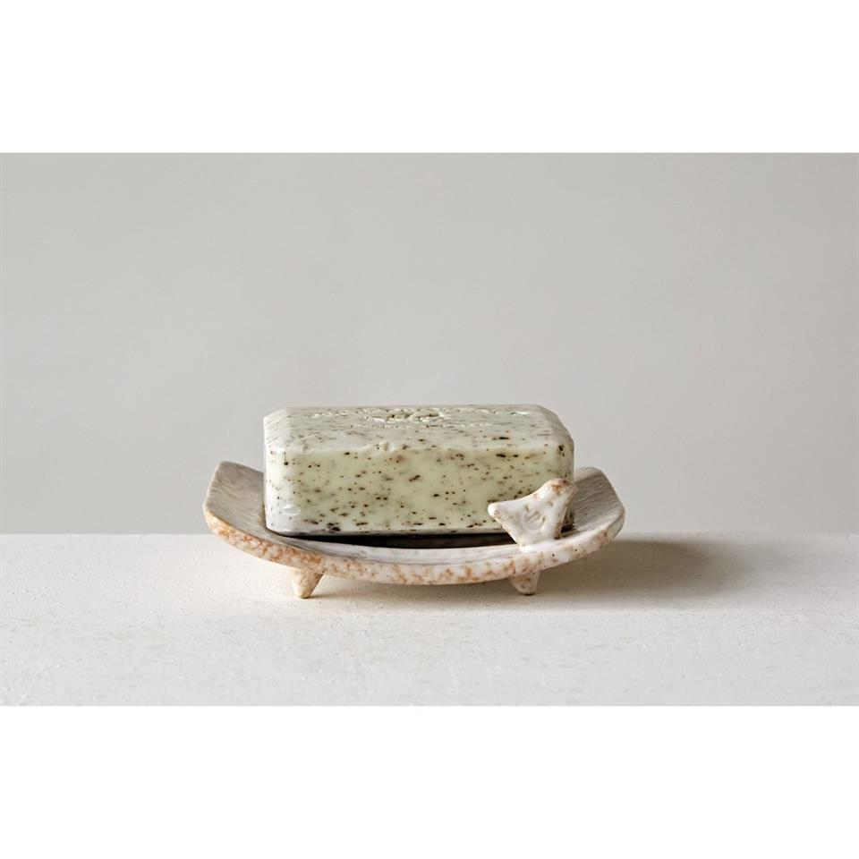 "5.5"" Stoneware Soap Dish with Bird"