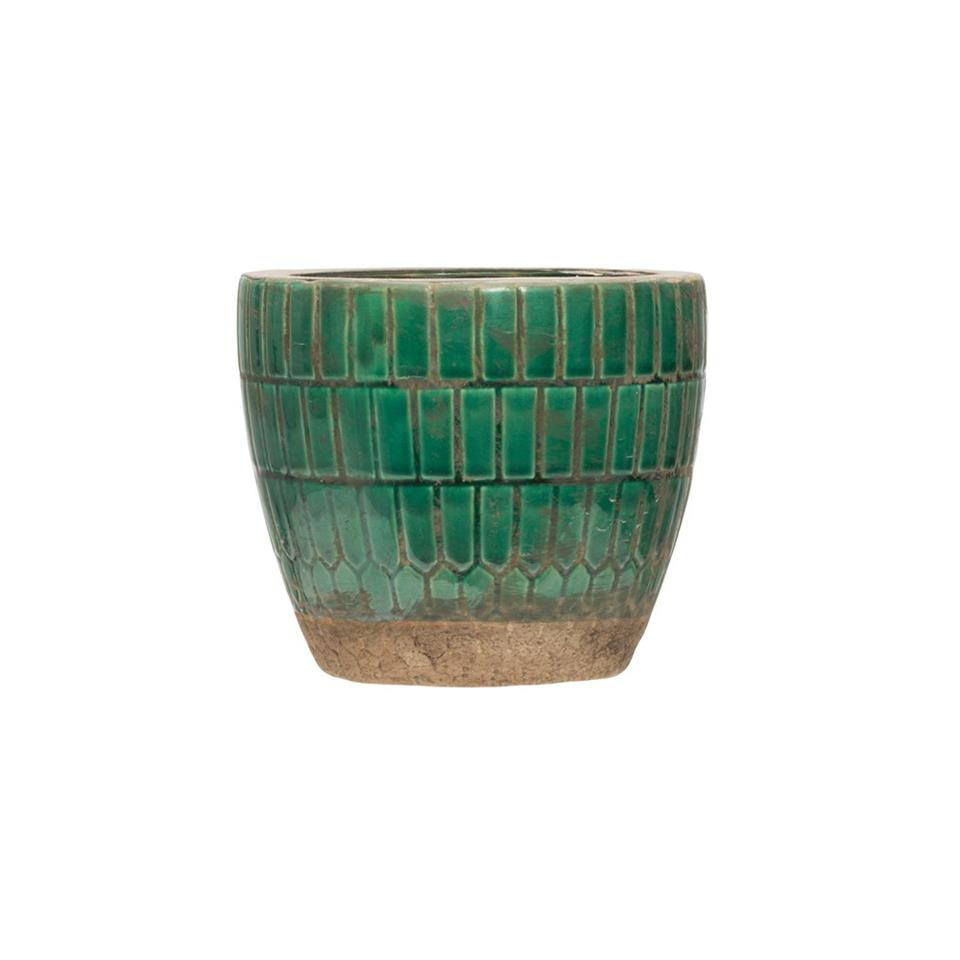 Green Tiled Terra Cotta Planter