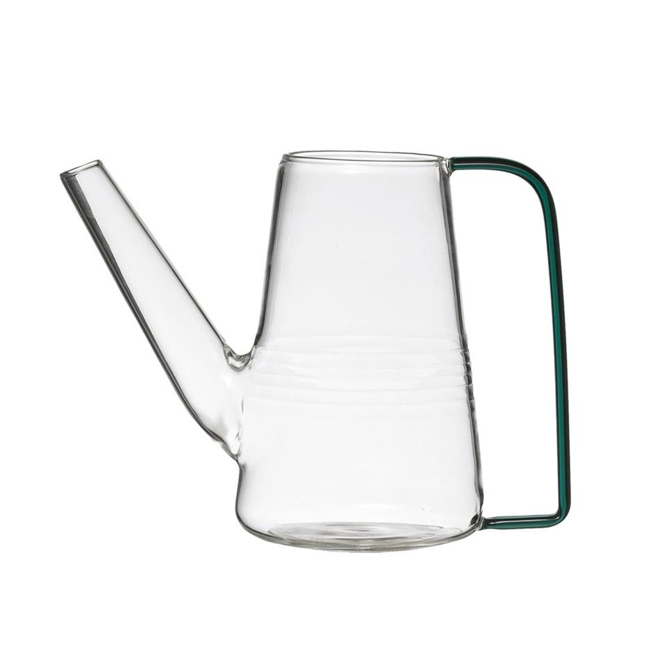 Petite Glass Watering Pitcher with Green Glass Handle