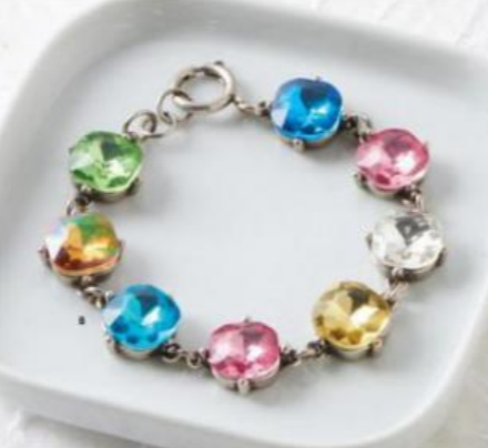 Silver Bracelet with Multi-Colored Crystals