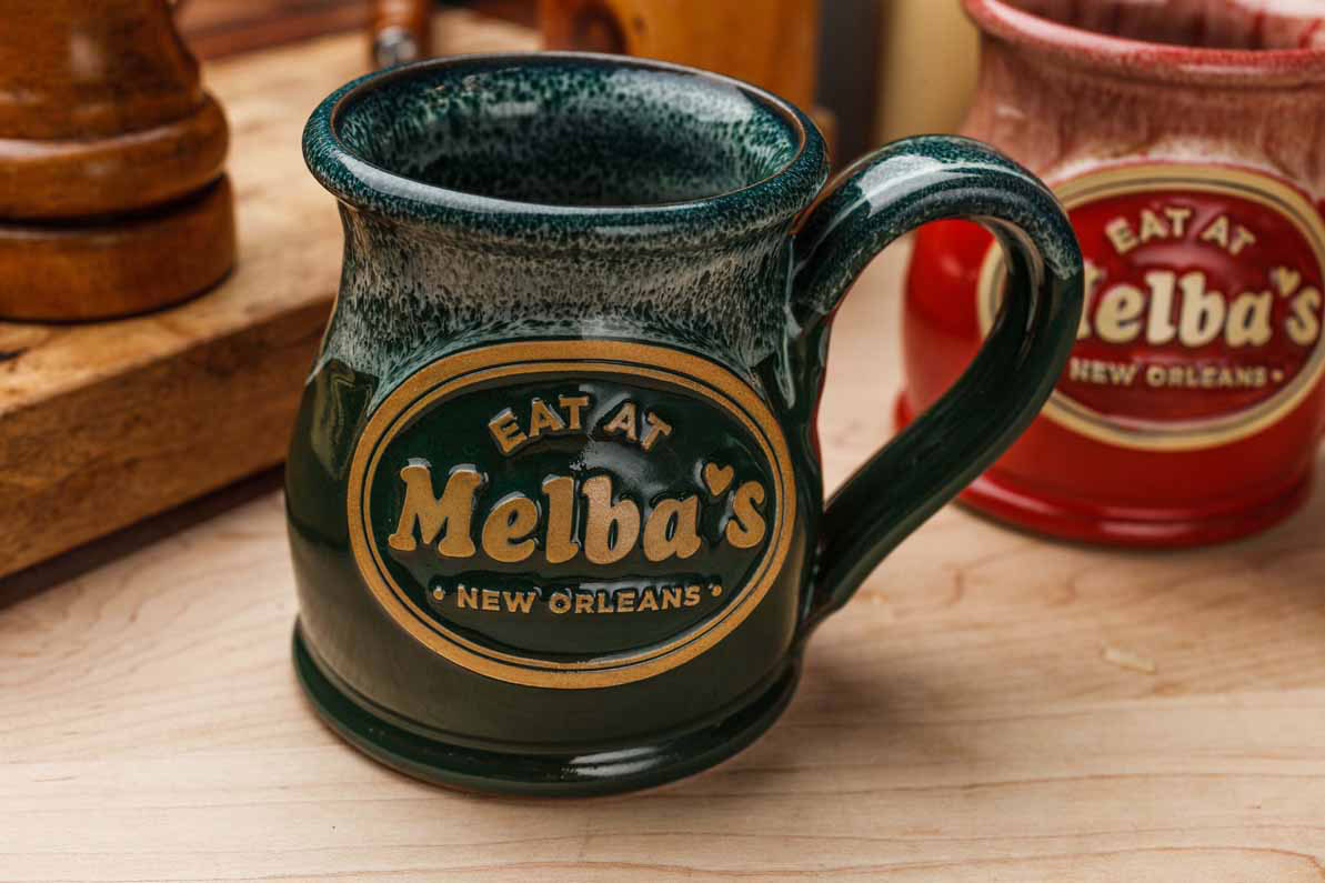 "Mug that says ""Eat at Melba's New Orleans"""