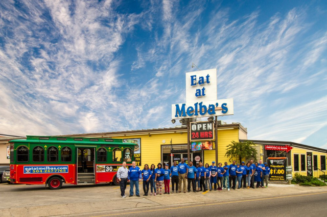 employees standing in front of melba's