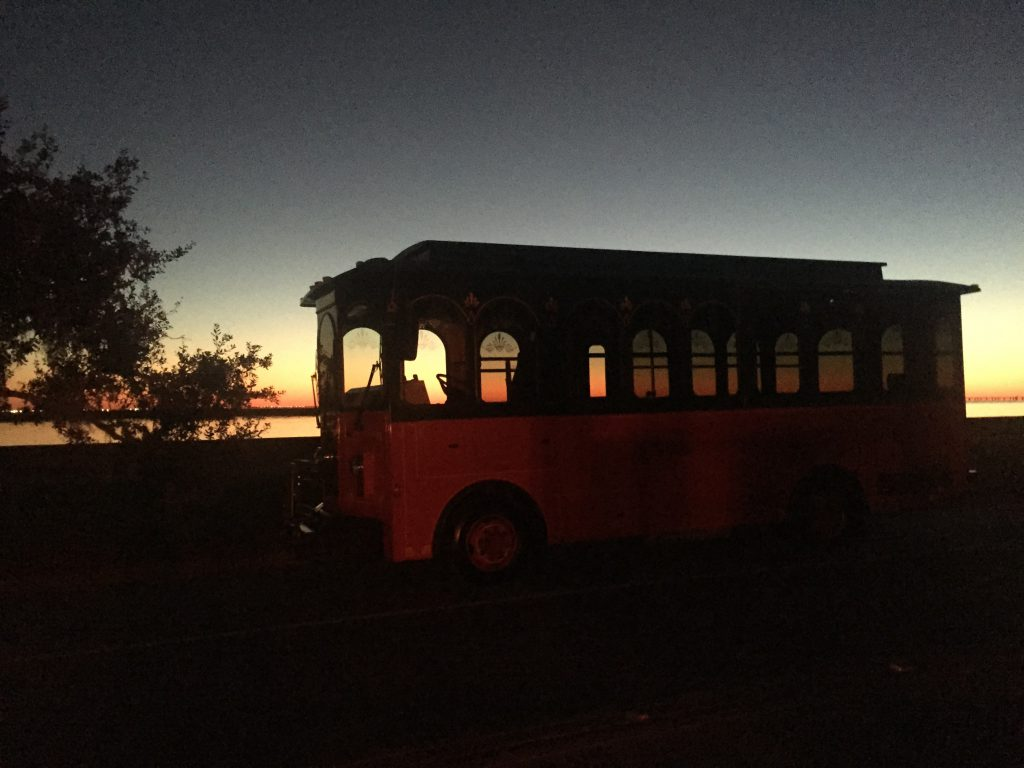 Eat at Melba's trolly with the sun setting behind