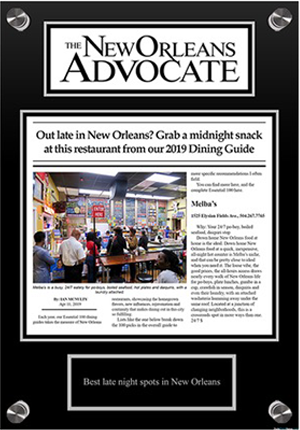the new orleans advocate award plaque