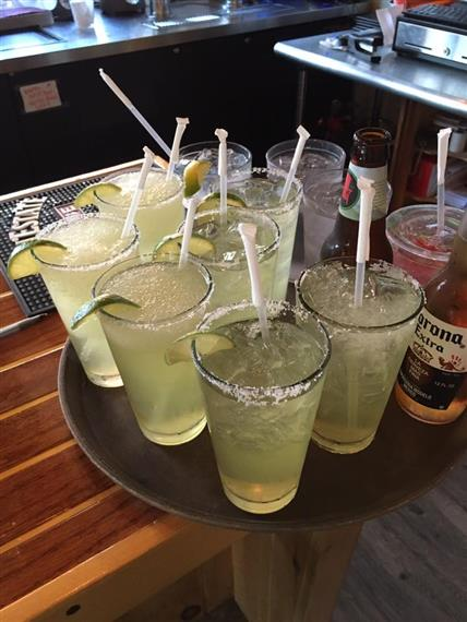 tray of margaritas on the rocks