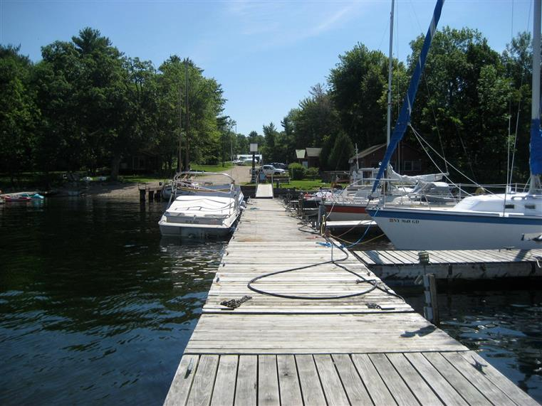 boardwalk dock at the marina with boats docked