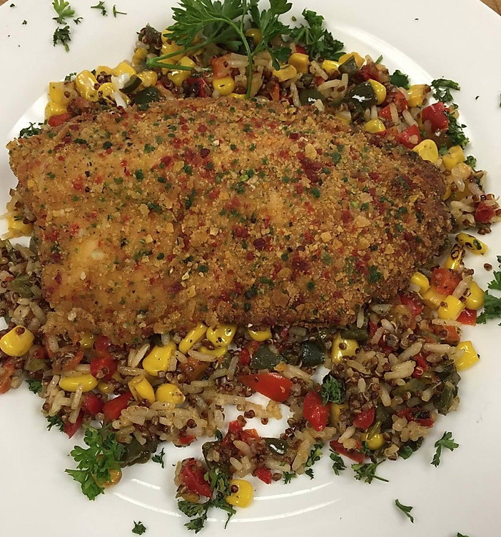 Pecan Encrusted Tilapia Over Quinoa