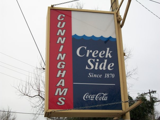 sign outside cunningham's creekside