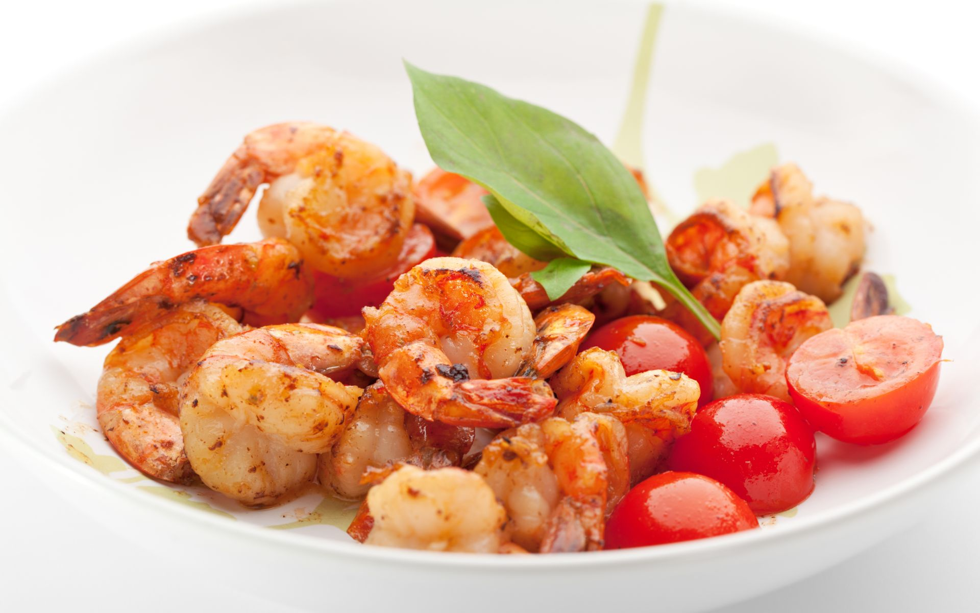 bowl of shrimp with cherry tomatoes