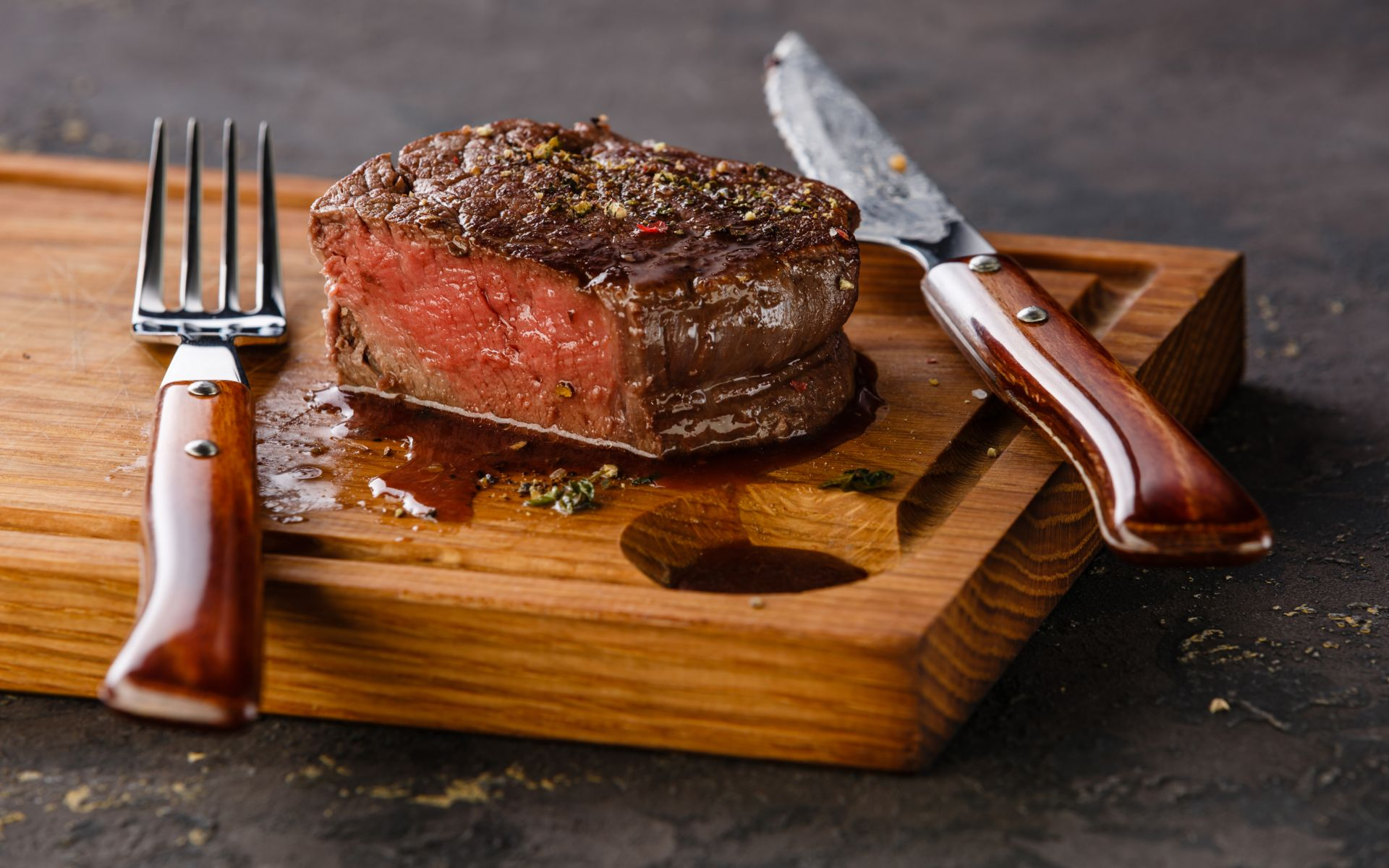 filet mignon on a wood cutting board