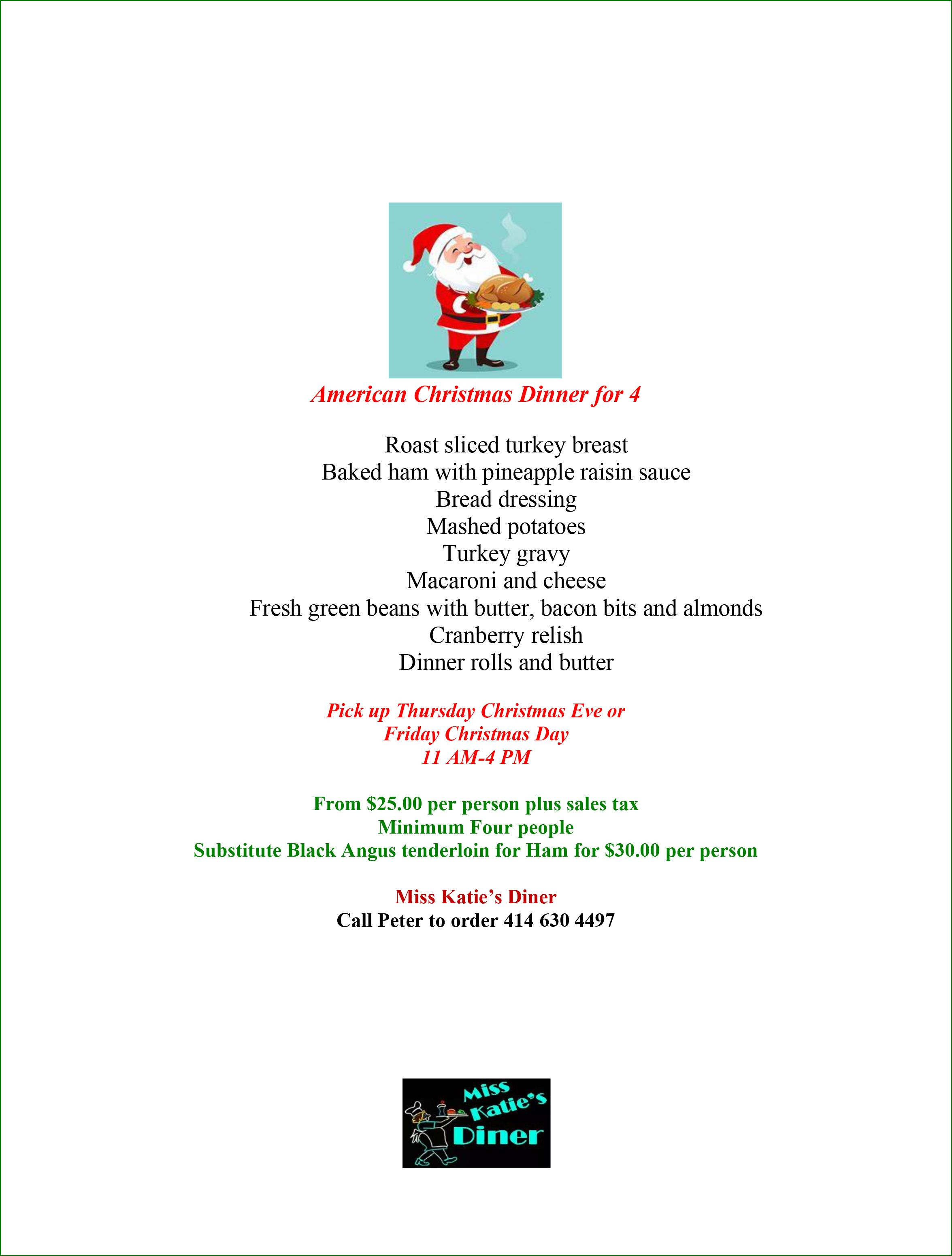 American Christmas Dinner for 4 - click for full readable PDF
