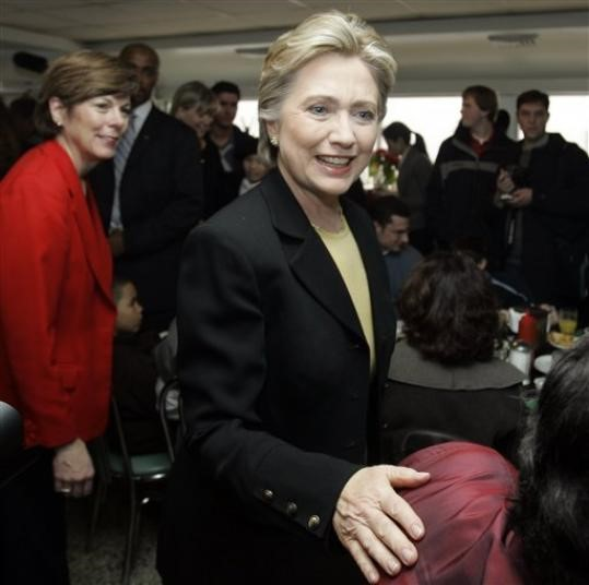 Hillary Clinton and several other people in the diner