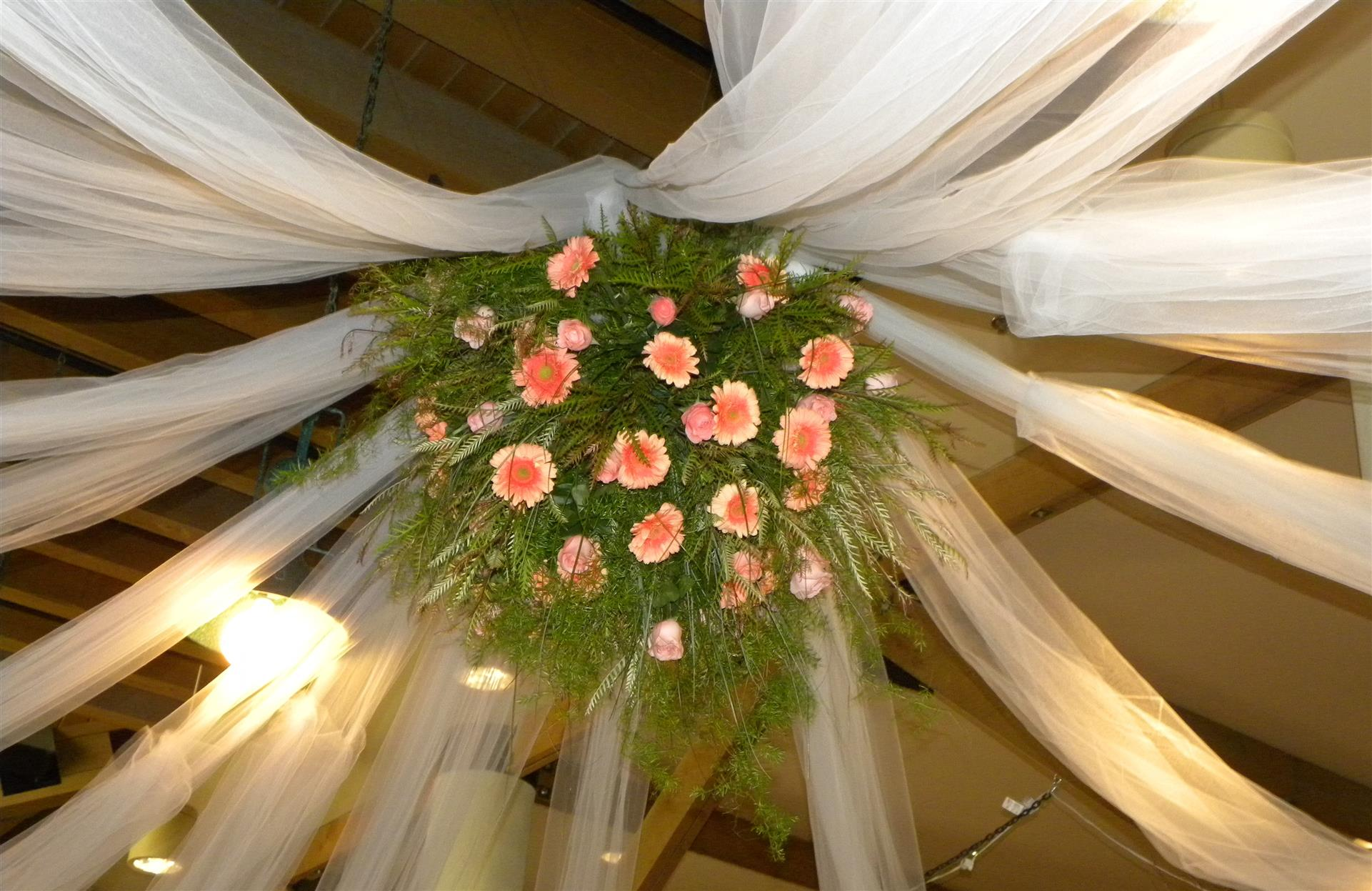 party decor on the ceiling with flowers