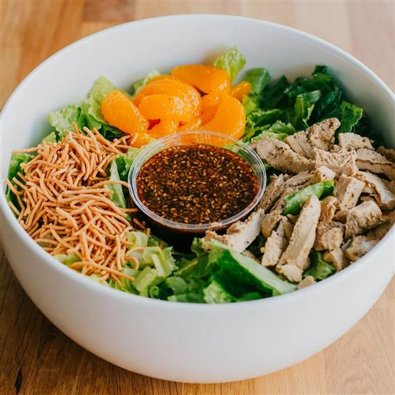asian style salad with vegan chicken