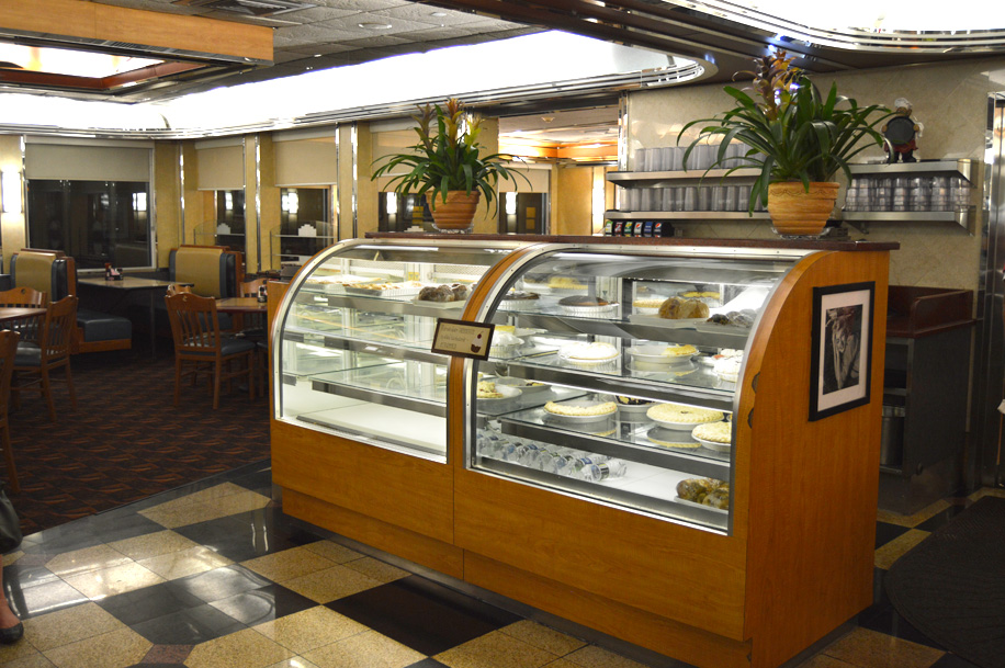 display case with various desserts