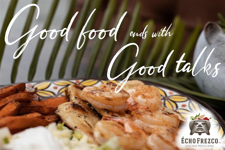 grilled chicken and grilled shrimp plate. Good food ends with good talks.
